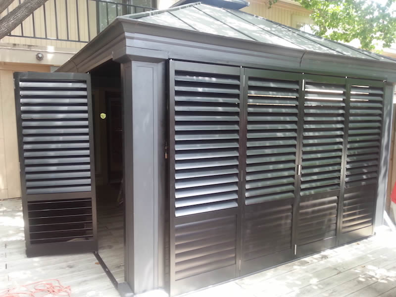 Austin outdoor plantation shutters the shading co Aluminum exterior plantation shutters